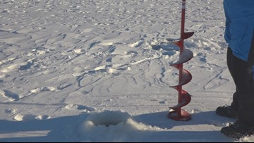 Ice thickening on area lakes brings out ice fishers