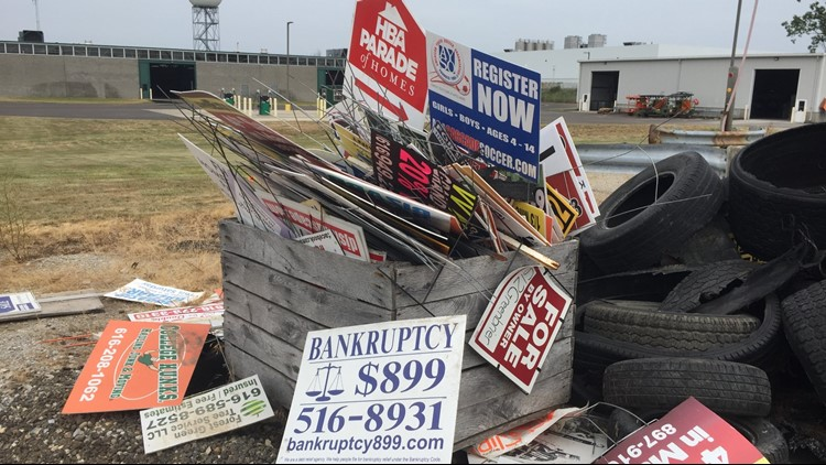Hundreds of yard signs confiscated by crews and will be trashed