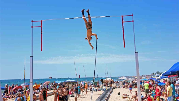 The beach is the back drop to this unique pole vaulting competition.