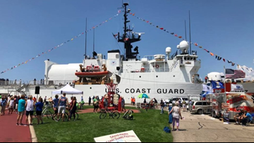 On board the USCGC Escanaba as it sails into Grand Haven