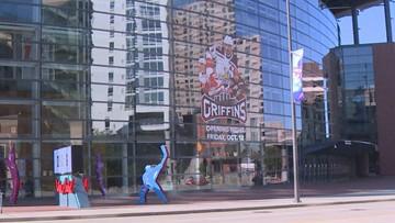 Griffins' 2019-20 season decal going up on Van Andel Arena