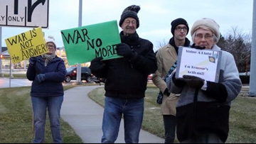 Grand Haven protesters show opposition to war with Iran