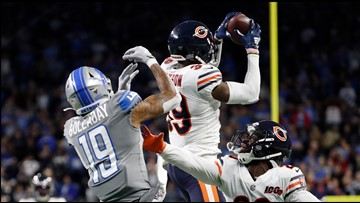 Trubisky's 3rd TD pass lifts Bears to 24-20 win over Lions