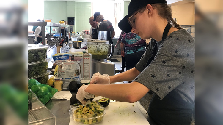 Food prep work at Revive & Thrive