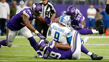 Detroit Lions' Matthew Stafford sacked 10 times in 24-9 loss to Vikings