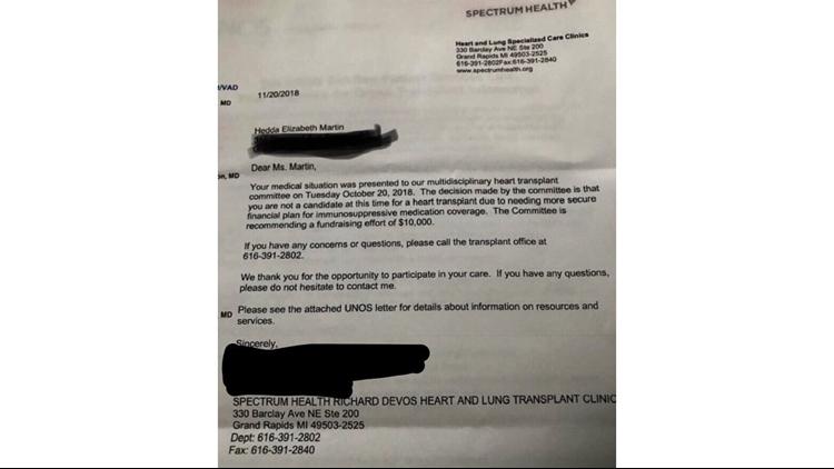 Heart transplant letter