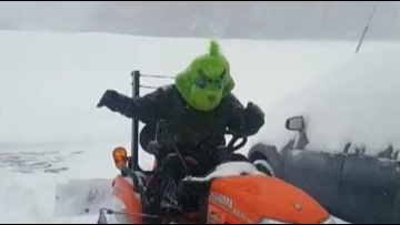 The Grinch was spotted plowing snow in Boone, N.C.