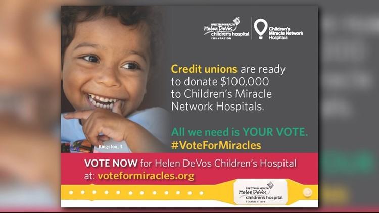 Help Helen DeVos Children's Hospital win $50,000 during #VoteForMiracles