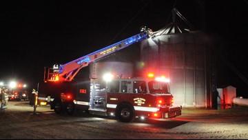 Crews cut through corn silo to put out 'stubborn' fire in Bangor Township