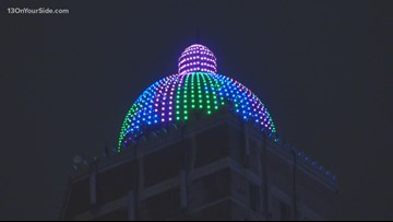 McKay Tower lights up to raise metastatic breast cancer awareness
