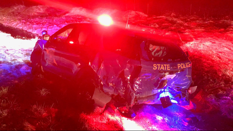 MSP cruiser rear-ended while trooper responds to crash on I-94 in Calhoun County