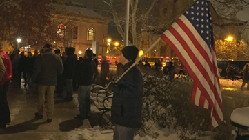 Veterans march through snow in downtown Grand Rapids for annual parade