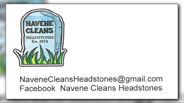 Navene Cleans Headstones business card.
