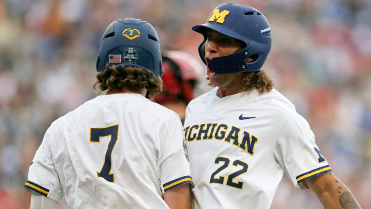 Michigan beats Texas Tech 5-3 in its 1st College World Series game since 1984