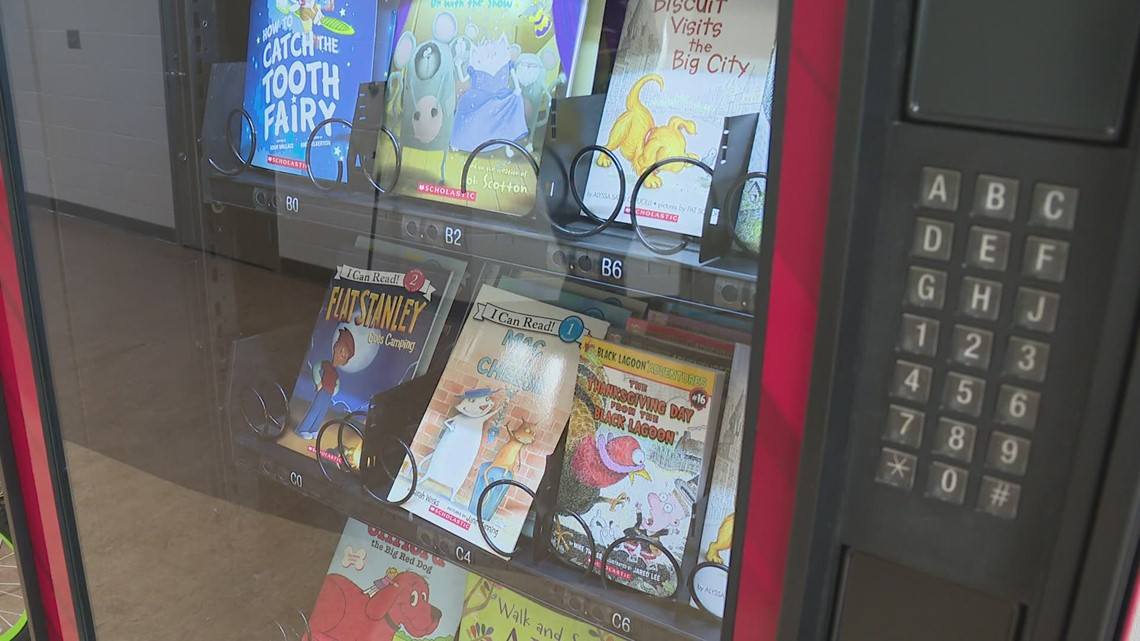 Vending machine at Orchard View Schools dispensing books