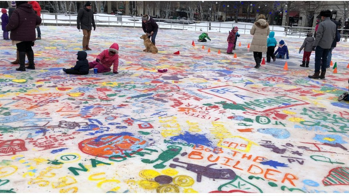 Rosa Parks Circle gets painted with color during winter festival