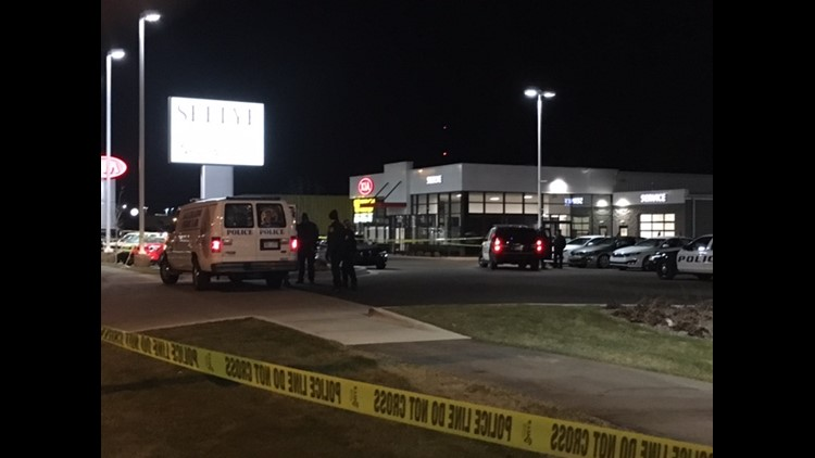 The scene from the Seeyle Kia of Kalamazoo car dealership, where two people where shot and killed while sitting in their car.