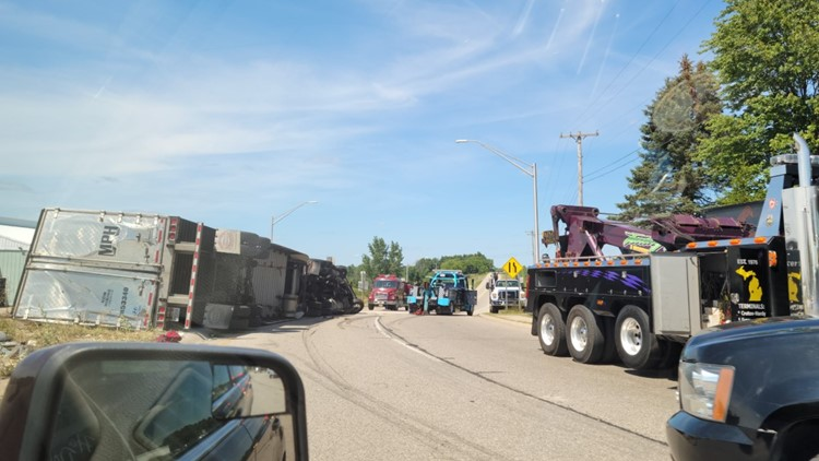 M-37 reopens after semi flips over Friday afternoon