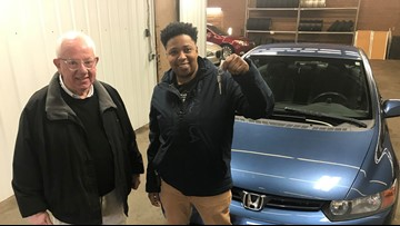 Chance encounter at dry cleaners brings hard-working woman new car