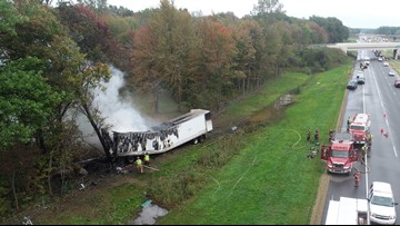 Trucker driving Bryon Center semi-truck dies in fiery crash