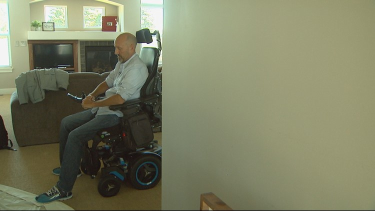 Scott Bylsma spends most of his days in a motorized wheelchair. He says he can still stand, but needs assistance. Scott was disgnosed with ALS in the spring of 2017. Life expectance after diagnosis is 2-5 years.