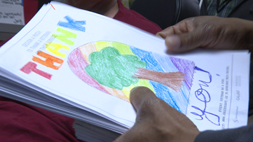Cards created by kids at Children's Museum delivered to local vets