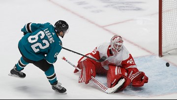 Sharks top Red Wings 4-3 in shootout for sixth straight win