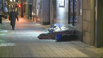 Some sidewalk sleepers skip shelters and bundle up in bitter cold weather