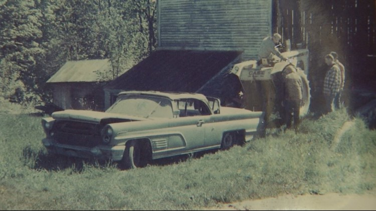 This is an image of the 1960 Lincoln convertible soon after it was removed from the farmer's barn in East Jordan, Mi. Bob Lucas purchased the car with the hopes of restoring it, but became more of a 'mysterious relic' instead.