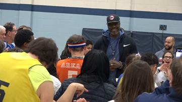 Ben Wallace visits Special Olympics Michigan basketball players at new facility