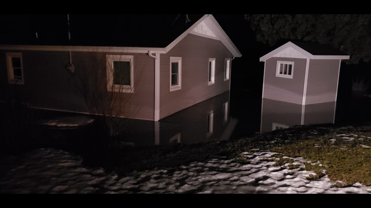 High water floods homes along Martin Lake.