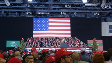 President Trump arrives in Battle Creek for Merry Christmas rally