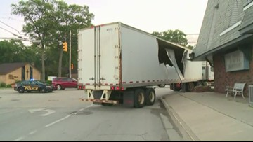 Semi-truck crashes through building in Muskegon