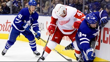 Hutchinson wins 1st, Maple Leafs beat Red Wings 4-1