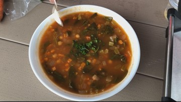 Hot soup on a rainy day: Harissa Chickpea Soup
