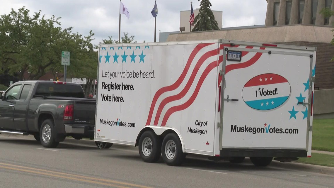 Muskegon travel voting trailer encouraging everyone to register to vote