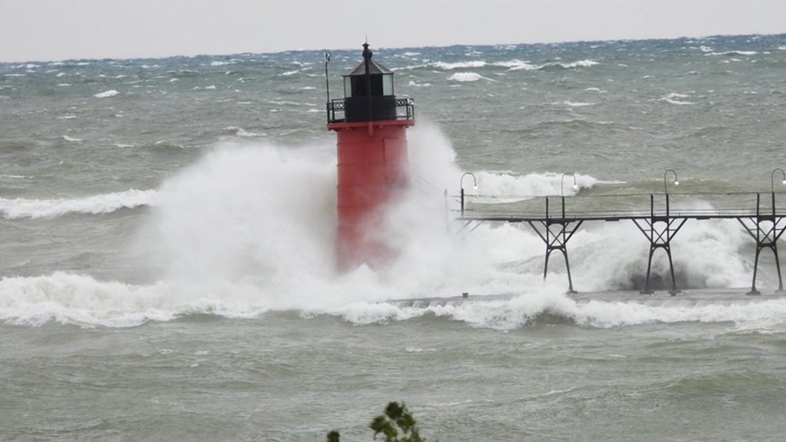 Waves, wind pound Lake Michigan coast, erode properties