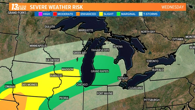 West Michigan is in the marginal risk area for severe storms on Wednesday. The best chances for large hail, damaging winds and tornadoes should stay on the other side of Lake Michigan.