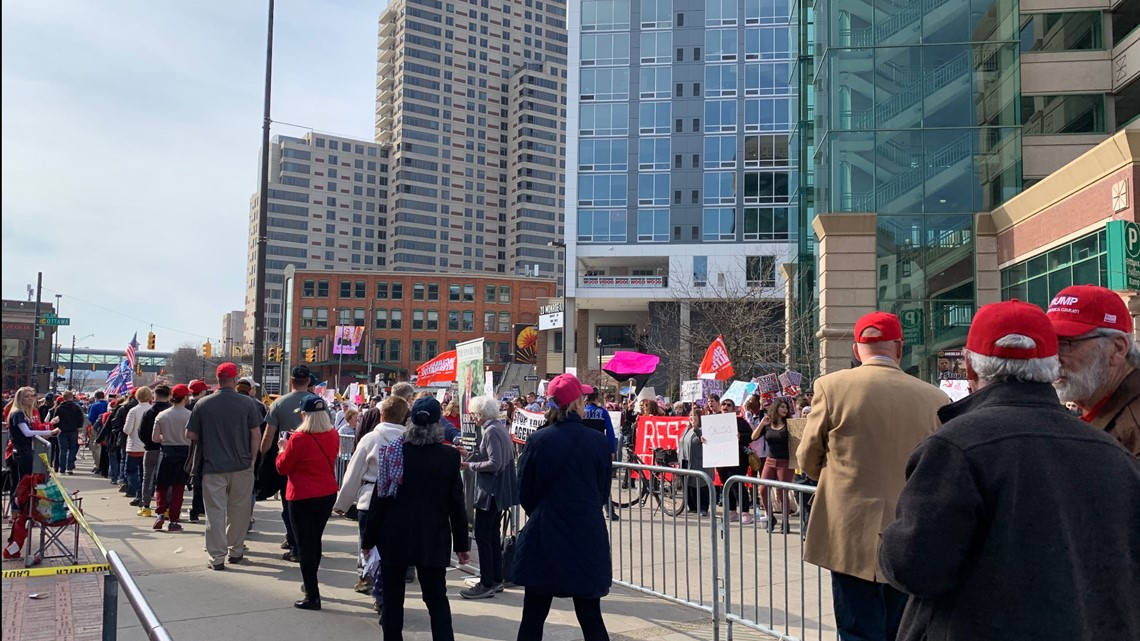 Protesters Gather During President Donald Trump's Rally In