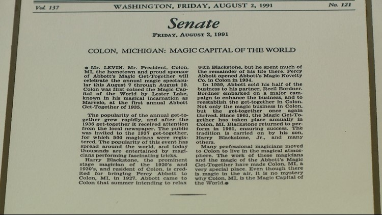 "Congressional record that Colon, Mich. is the ""Magic Capital of the World."""