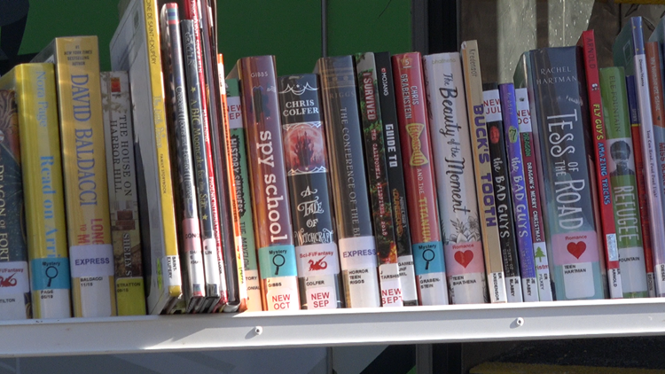 Kent District Library Bookmobile visits mobile food pantries