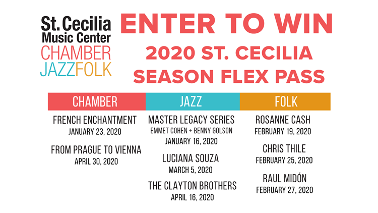 CONTEST COMPLETE - Enter to win a 2020 St. Cecilia Music Center Flex Pass
