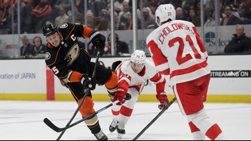 Cholowski scores in OT, Red Wings rally past Ducks 4-3