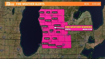 Red flag warning for fire risk issued in West Michigan