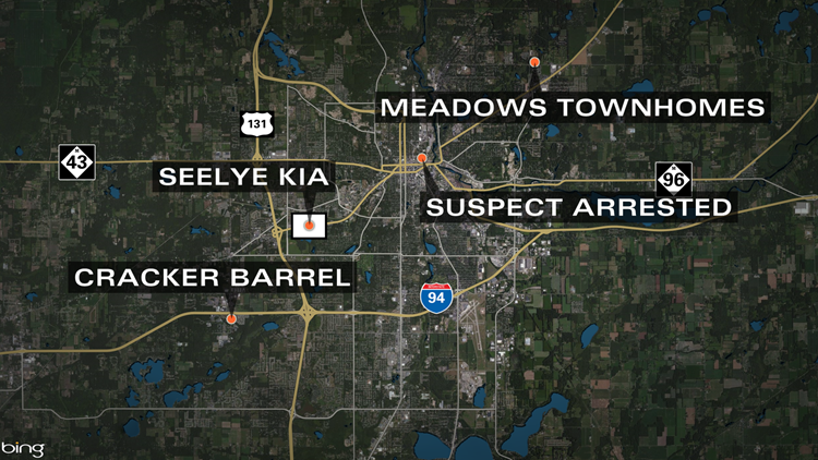Several scenes during the Kalamazoo mass shooting spree: the Meadows Townhomes, the Seelye Kia car dealership, a Cracker Barrel resturant and where the suspect was arrested in downtown Kalamazoo.