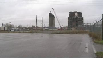 Wrecking ball demolishes B.C. Cobb power plant smokestack