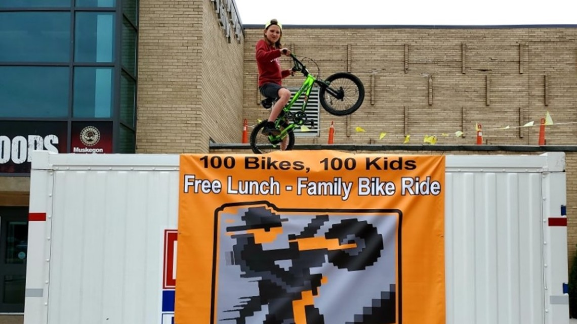 Over 100 bikes given away to Muskegon kids on Father's Day