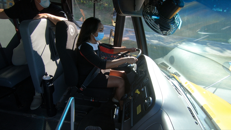 13OYS Morning's Emily Scarlett gets behind the wheel to encourage school bus driver applications