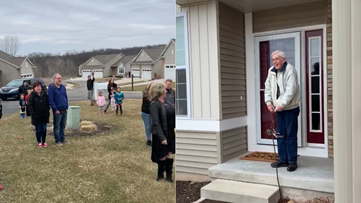 Family sings happy birthday from front lawn for Lowell man's 85th birthday
