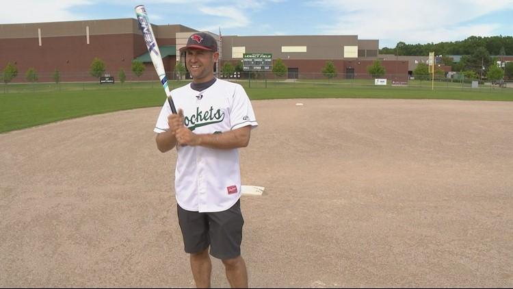Jesse Thompson wears his Reeths-Puffer Rockets baseball jersey.